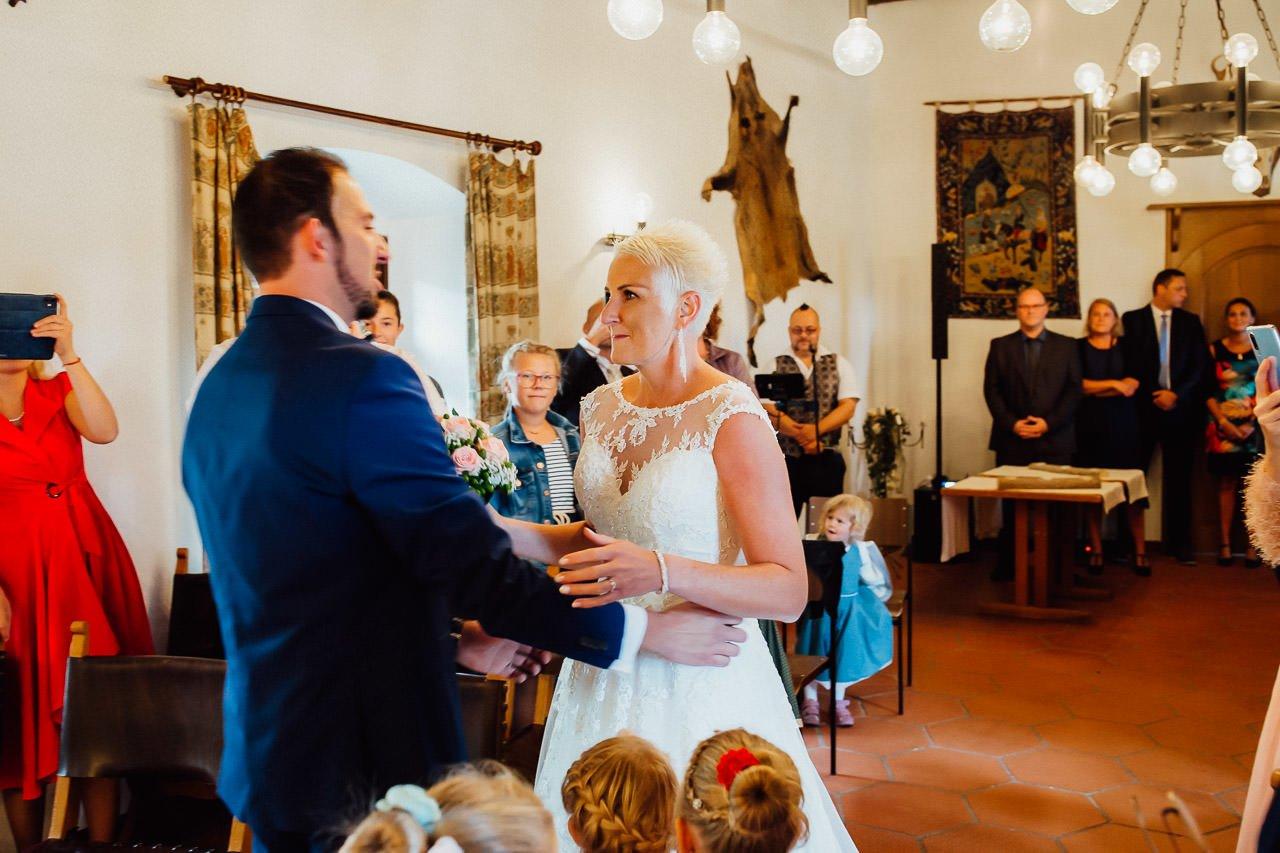 Erster Blick vor der Hochzeitszeremonie.