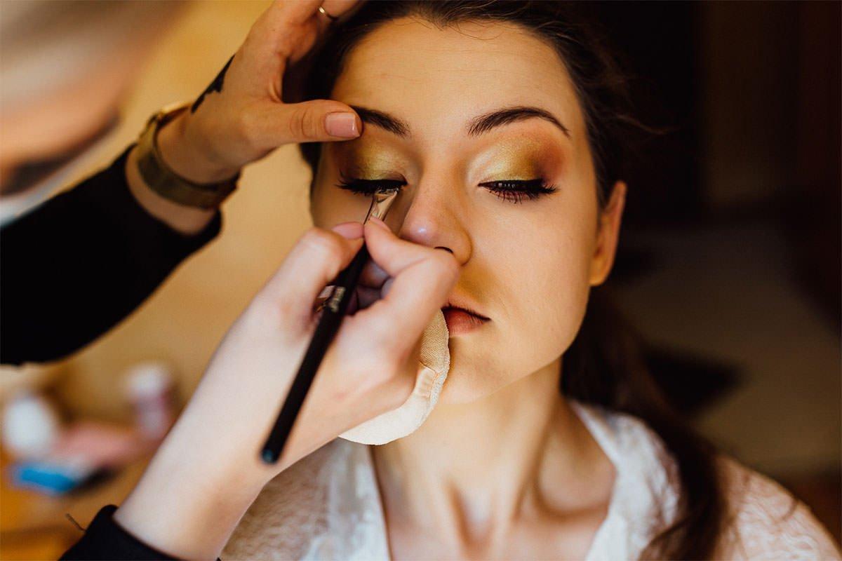 Braut-Make-up, Augen in Goldtönen